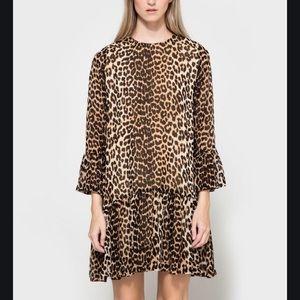 Ganni Miku Georgette Leopard Dress